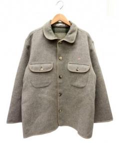 PAPAS(パパス)の古着「スエード切替ウールジャケット」|グレー