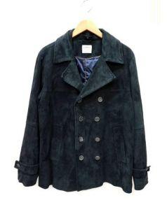 EMMETI(エンメティ)の古着「ゴートレザースエードPコート」|ブラック