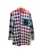 ALDIES(アールディーズ)の古着「クレイジーパターン切替ロングシャツ」|ネイビー×ホワイト