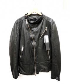 MUSHER(マーシャー)の古着「ラムレザーライダースジャケット」 ブラック