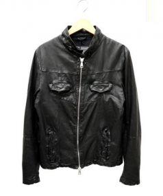 GIORGIO BRATO(ジョルジオブラット)の古着「ラムレザーシングルジャケット」 ブラック