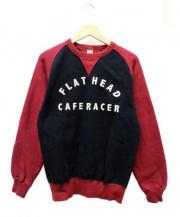 FLAT HEAD(フラットヘッド)の古着「2トーンフリーダムスウェット」 ボルドー×ブラック