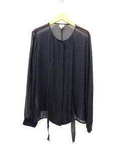 ARMANI COLLEZIONI(アルマーニ コレツィオーニ)の古着「プリーツシルクブラウス」|ブラック