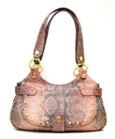 COLE HAAN(コール ハーン)の古着「パイソン型押しハンドバッグ」|ピンク