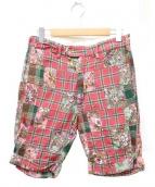 Engineered Garments(エンジニアードガーメン)の古着「パッチワークハーフパンツ」|レッド