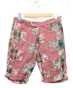 Engineered Garments(エンジニアド ガーメンツ)の古着「パッチワークハーフパンツ」|レッド