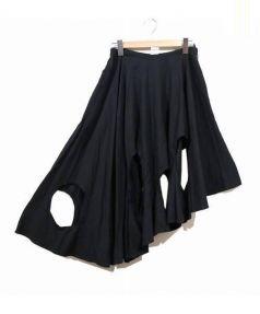 Ys Red Label(ワイズレッドレーベル)の古着「アシンメトリーカットスカート」|ブラック