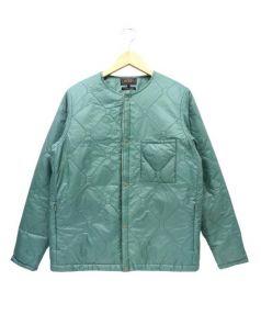 BEAMS(ビームス)の古着「ノーカラーダウンジャケット」|グリーン