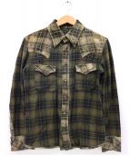 ISAMU KATAYAMA BACKLASH(イサムカタヤマ バックラッシュ)の古着「レザー切替ウエスタンシャツ」|ベージュ