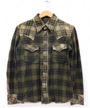 ISAMU KATAYAMA BACKLASH(イサムカタヤマ バックラッシュ)の古着「レザー切替ウエスタンシャツ」 ベージュ