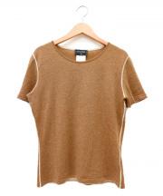 CHANEL(シャネル)の古着「半袖シルク混カシミヤニット」|ブラウン