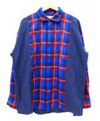 SUPERTHANKS(スーパーサンクス)の古着「切替コンビビッグシャツ」 ネイビー×オレンジ