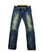 Hysteric Glamour(ヒステリックグラマ)の古着「エイジド加工デニムパンツ」|インディゴ