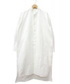 HYKE(ハイク)の古着「バンドカラーロングシャツ」|ホワイト