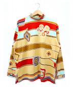 LEONARD(レオナール)の古着「ハーフバックジップ総柄カットソー」|マルチカラー