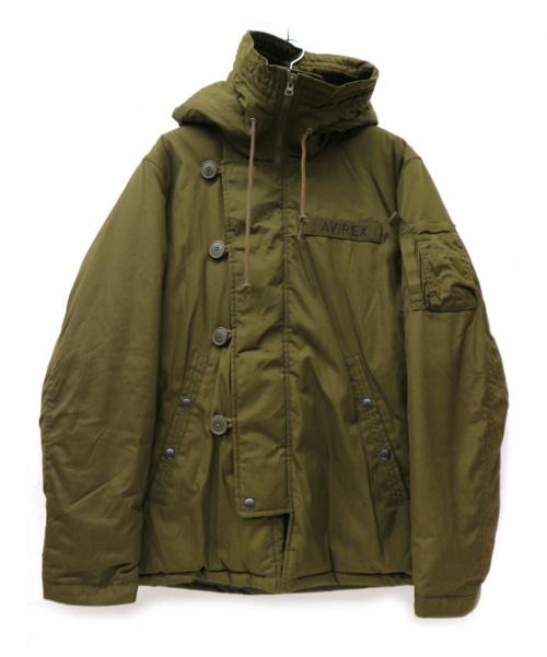 AVIREX(アビレックス)AVIREX (アビレックス) ミリタリーフーデッド中綿ジャケット カーキ サイズ:XLの古着・服飾アイテム
