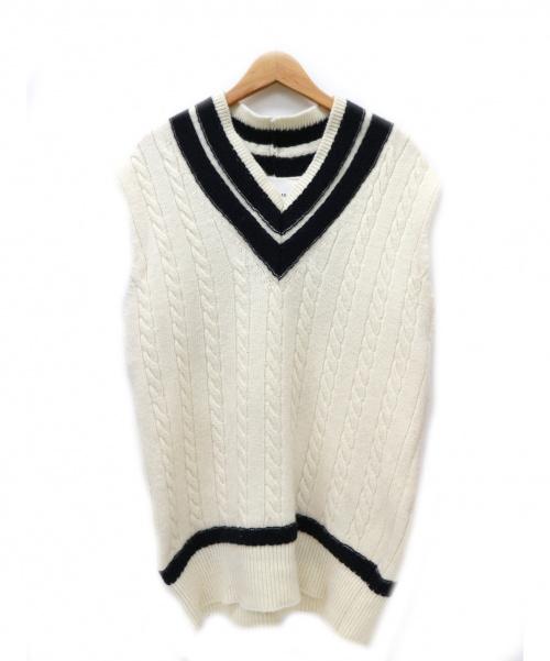 ADAWAS(アダワス)ADAWAS (アダワス) チルデンVネックニットベスト アイボリー サイズ:38 日本製の古着・服飾アイテム