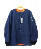 CHARI & CO NYC(チャリアンドコー NYC)の古着「ノーカラーナイロンジャケット」|ネイビー