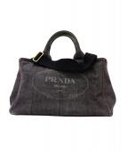 PRADA(プラダ)の古着「2WAYカナパデニムハンドバッグ」|ブラック