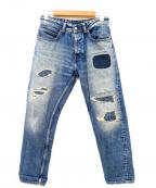 Franklin & Marshall(フランクリンマーシャル)の古着「リペア加工デニムパンツ」|インディゴ