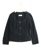 Mila Schon(ミラショーン)の古着「エンボスジャガードノーカラージャケット」|ブラック