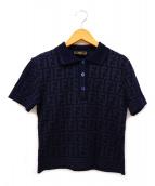 FENDI(フェンディ)の古着「[OLD]ズッカ柄ニットポロシャツ」|ネイビー