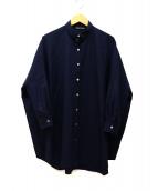mizuiro-ind(ミズイロインド)の古着「ギャバジンシャツワンピース」|ネイビー
