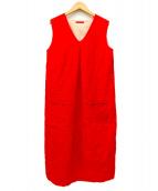 Demi-Luxe BEAMS(デミルクスビームス)の古着「Vネックリネンノースリーブワンピース」 レッド