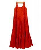 MARIHA(マリハ)の古着「ノースリーブプリーツワンピース」|テラコッタブラウン
