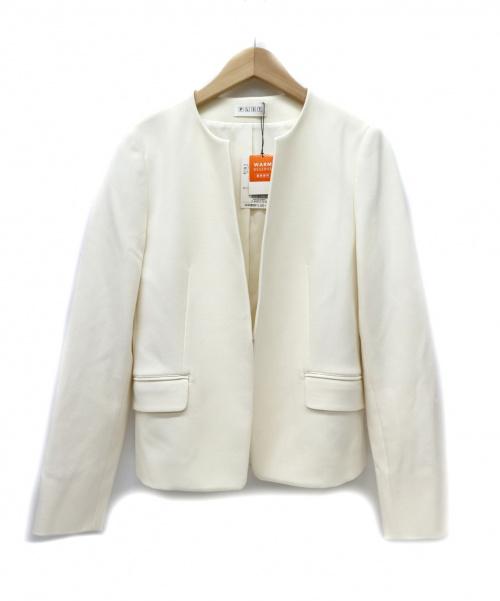 PLST(プラステ)PLST (プラステ) ノーカラージャケット ホワイト サイズ:M 未使用品 「ウォームリザーブキーネックジャケット」の古着・服飾アイテム