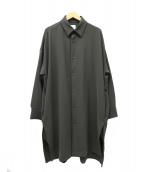 Lui's(ルイス)の古着「サイドスリットビッグシルエットシャツコート」|ブラウン
