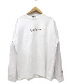 YOHJI YAMAMOTO×NEW ERA(ヨウジヤマモト×ニューエラ)の古着「シグネイチャーロゴ長袖Tシャツ」|ホワイト