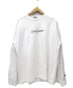 YOHJI YAMAMOTO×New Era(ヨウジヤマモト×ニューエラ)の古着「シグネイチャーロゴ長袖Tシャツ」 ホワイト