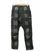 mountain martial arts(マウンテンマーシャルアーツ)の古着「転写チェックランニングパンツ」|ブラック