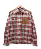 ()の古着「コーデュロイ切替チェックシャツ」 グレー