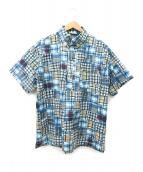 ()の古着「チェック転写ストレッチプルオーバーシャツ」 ブルー