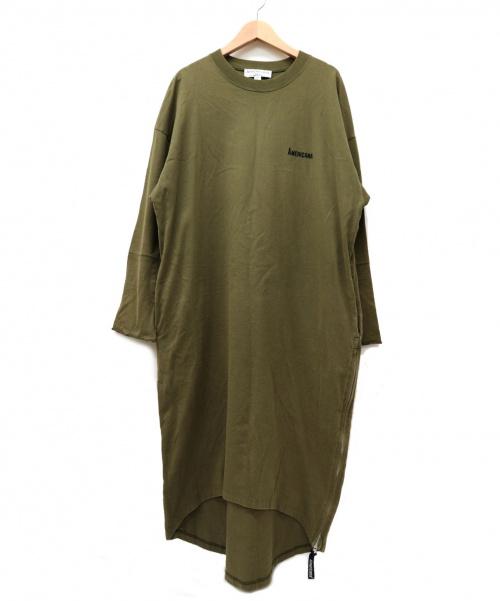 Americana(アメリカーナ)Americana (アメリカーナ) サイドジップカットソーワンピース カーキ サイズ:表記なしの為、実採寸をご参考ください。 日本製の古着・服飾アイテム