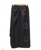 慈雨(ジウ)の古着「フリンジデザインラップスカート」|ブラック