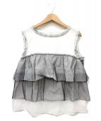 LANVIN en Bleu(ランバンオンブルー)の古着「チュールデザインブラウス」|ホワイト×ブラック