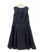 LANVIN en Bleu(ランバンオンブルー)の古着「ウールノースリーブワンピース」|ネイビー