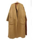 ()の古着「リバーシブルベルトコート」 ブラウン×ベージュ