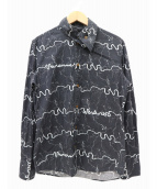 vivienne westwood MAN(ヴィヴィアンウエストウッドマン)の古着「総柄アシンメトリーデザインシャツ」|ブラック
