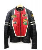 VANSON(バンソン)の古着「[古着]オールドRJPワッペンライダースジャケット」|ブラック
