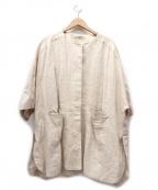 GALLARDA GALANTE(ガリャルダガランテ)の古着「リネンノーカラードロップショルダージャケット」 アイボリー