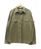 ()の古着「ヘリンボーンワークシャツ」|オリーブ