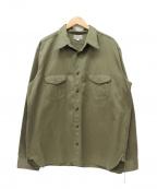 Buzz Ricksons(バズリクソンズ)の古着「ヘリンボーンワークシャツ」 オリーブ