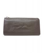 LONGCHAMP(ロンシャン)の古着「ステッチロゴLジップレザー長財布」 グレージュ