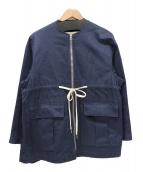 scye(サイ)の古着「コットンヘリンボーンジップアップジャケット」 ネイビー