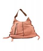 agnes b voyage(アニエスベーボヤージュ)の古着「サイドレースアップレザーハンドバッグ」|ピンク