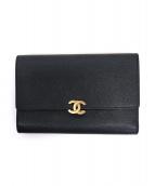 CHANEL(シャネル)の古着「[OLD]ココマーク3つ折り長財布」|ブラック
